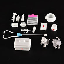 One Set medical kit Supplies Doll Pet Toys Doll Accessories Toy For barbie doll Baby Toys Christmas gift Doll House Decoration(China)