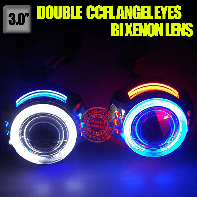 3.0inch H1 H4 H7 H11 9005 9006 Bi-Xenon projector lens for auto headlight with double CCFL angel eyes demon eyes<br><br>Aliexpress
