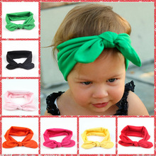 KH110  New Cotton Headband White knot tie headband headwrap Vintage Bow Head Wrap Stretchy Knot Girls Hair Accessories