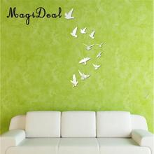 MagiDeal High Quality 11Pcs Birds Acrylic 3D Mirror Effect Wall Stickers for Home Walls Doors Windows Closet Decor Vinyl Decal(China)