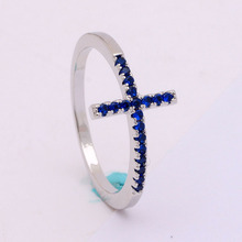 Religious Trend Sideways Cross ring Royal blue black Czech zircon crystal mixed size silver plated engagement ring for women(China)