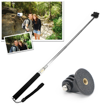 Portable Selfiestick With Extendable Monopod Handheld Tripod Adapter Telescopic Pole for Gopro Hero 3/3+ 4 SJ4000/5000