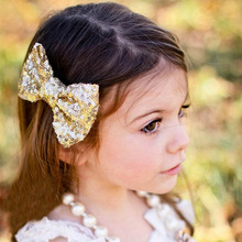 New arrival   girl hair clips shiny Sequin Barrettes Bling Bling Big Bow Hair Clips Headbands Boutique girl Accessories #48