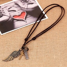 Charm Leather Necklace Vintage Cross Pendant Necklace Tribal Necklace Punk Angle Wing Men's Fashion New
