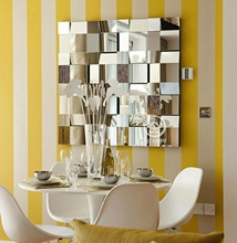 Modern mirrored wall decor beveled polydirectional square mirror multi-facet galss mirror wall art(China)