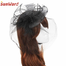 Amazing Wedding Fascinator Veil Feather Hard Yarn Headband Women Brides Hair Accessories