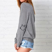 Wholesale Women Embroidery kitty black Gray sweatshirts long sleeve elegant warm winter pullover vintage O-neck casual tops