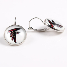 10pairs/lot Football Atlanta Falcons  Football Team Sports Charms 18mm Glass Cabochon Earings French Hook Earrings for Women