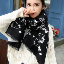 2017 Autumn Winter Hello Kitty & Bow Print Dual Sides Scarves Cat Kitten Cape Scarf Pashmina 180*65cm(China)