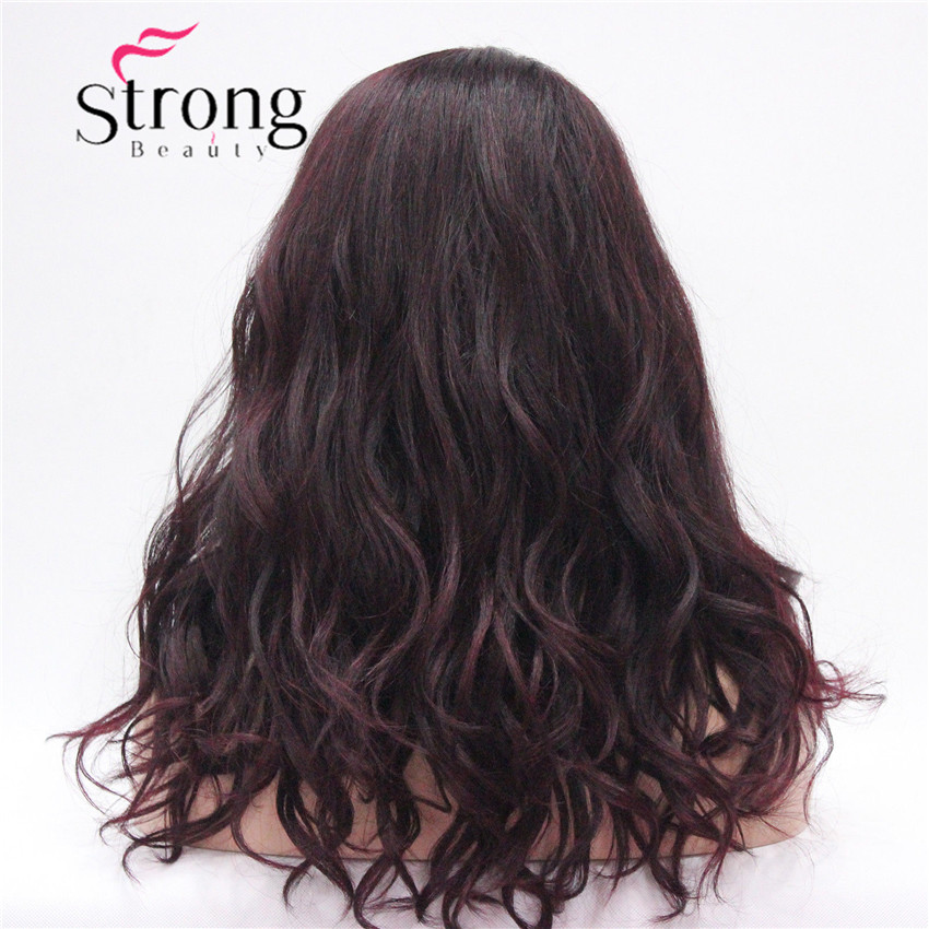 HHG-9126 #T1B-99T Lace Front Wig Quality Heat Ok Synthetic Off Black Mix Deep Purple Wavy Long Wig (6)