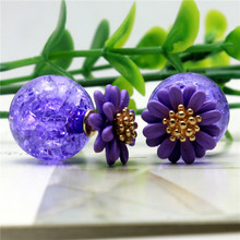 2015 design fashion brand jewelry elegant Daisy Flowers stud earring double Imitation pearls earring for women for girls gift