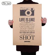 TIE LER Vintage Classic Life Is Like A Camera Poster Cafe Bar Painting Home Decor Retro Kraft Paper Wall Sticker 51.5X36cm