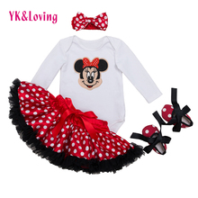 Infant Clothing 4pcs sets White Long Sleeve Rompers Red Tutu Skirt Ruffle Pettiskirt Shoes Headband Baby Girls Clothes YK&Loving