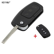 KEYYOU Folding Key Cover Remote Case Fob for Ford Fiesta Focus 2 Ecosport Kuga Escape 3 Buttons With Silicone Key Shell Cover