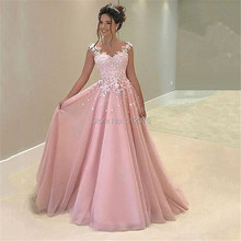 Beauty Backless Tulle Sweetheart Neck Lace A Line Long Evening Dresses 2017 Pink Sleeveless Floor Length Evening Dress SML22702