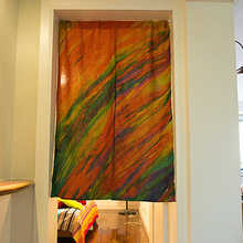 Alternative  curtain Creative window coloured drawing cloth curtain art half door curtain The kitchen partition curtain