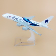 Alloy Metal Blue Air Malaysia Airlines A380 Airplane Model Malaysia Airbus 380 Airways Plane Model Aircraft Kids Gifts 16cm(China)