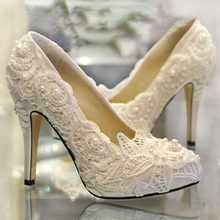 High-heeled White Wedding Shoes bride Dress shoes Wedding Gift Wife Daughter Graduation Party Prom Shoes Bridal Dress Shoes