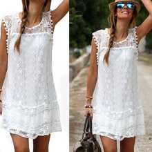 Hot Product S/M/L/XL White Women's Autumn Evening Party O-Neck Lace Dress Casual Short Sleeve Women Dress