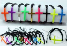 Candy color fluorescent vintage christian metal cross side braid cords adjustable shamballa bracelet Cheap jewelry(China)