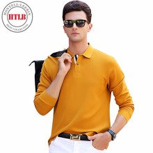 HTLB2017 Autumn New Brand Boss Men's Solid Long Sleeve Polo Shirt Men 100% Cotton Soft Full Sleeve Warm Polo Shirt Men Plus Size(China)