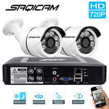 Saqicam 4CH 720P Surveillance Camera System 2PCS 1200TVL Waterproof Outdoor Bullet Camera Security CCTV System AHD 1080N DVR Kit
