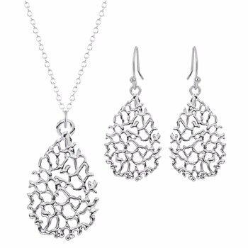 Kinitial 2pcs Fashion Teardrop Jewelry Sets Gold Plated Filigree Earrings Long Snake Chain Pendants Necklaces Fine Jewelry Set