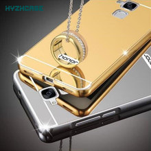 Fashion Luxury Rose Gold Silver Black Beauty Frame Mirror Case For HUAWEI Honor 5C 5.2 inch 5 C Shell Back Cover Housing New
