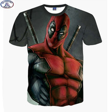 Mr.1991 newest listing America Cartoon Anime Bad guys Deadpool 3D printed t-shirt boys big kids teens t shirt children tops A10(China)