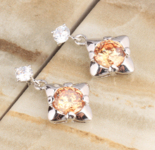 Angelic Pear Champagne Brown Orange Morganite Multigems 925 Sterling Silver Trendy Drop Dangle Earrings S5376