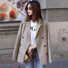 Buy high new checkered retro fashion lady suit casual suit jacket coffee color leisure double breasted jacket for $42.09 in AliExpress store