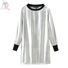 Silver Metallic Mini Autumn Dress Women Long Sleeve Round Neck Elastic Cuff Casual Straight Loose Fall Dresses Wear(China)