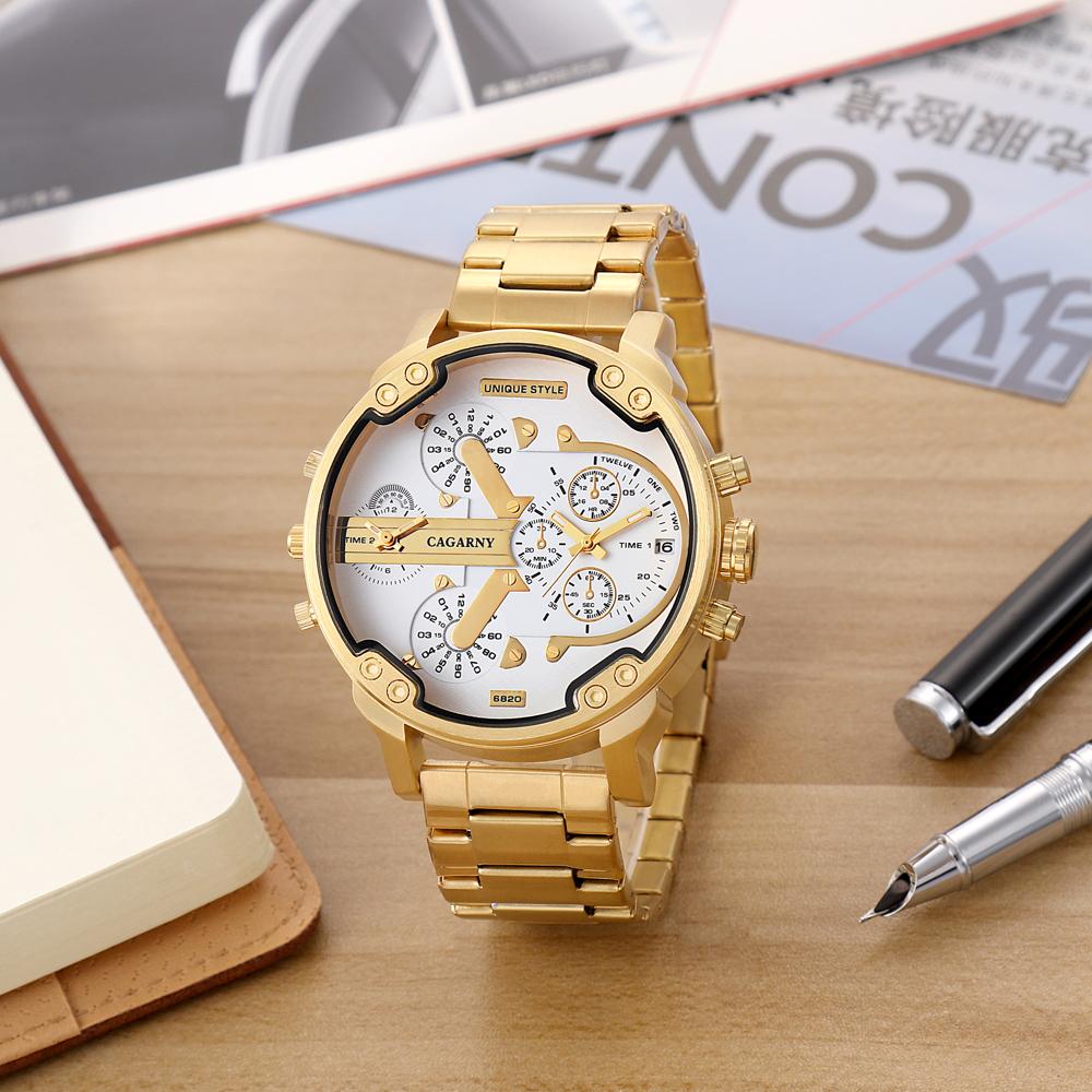 Cagarny Watches Men Fashion Quartz Wristwatches Cool Big Case Golden Steel Watchband Military Relogio Masculino Diesel Style dz6820 (3)
