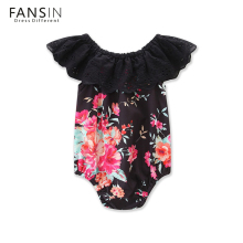 FANSIN Brand Summer Floral Bodysutis Black Lace Sleeveless Newborn Baby Girl Body Suit Flower Infant Jumpsuit Clothing Outfits