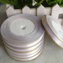 HL 1 roll (22 meters) 10mm Phnom penh white weaving single face satin ribbon gift packing belt wedding Christmas decoration A679