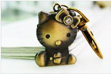 New style Vintage bronze classic hello kitty cat quartz lovely  Key chain pocket watch kids gift