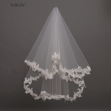 YeWen In Stock 1.5 Meters Wedding Veil Lace Appliques Tulle Bridal Veil Wedding Veils Wedding Accessories Free Shipping(China)