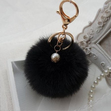 10 Colors Handbag Charm Key Ring Rabbit Fur Ball PomPom For Phone Car Bag Keychain