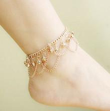 H:HYDE Hot Gold Color Charm Bell Anklets for Women Ankle Bracelet Chain Foot Jewelry Barefoot Beach