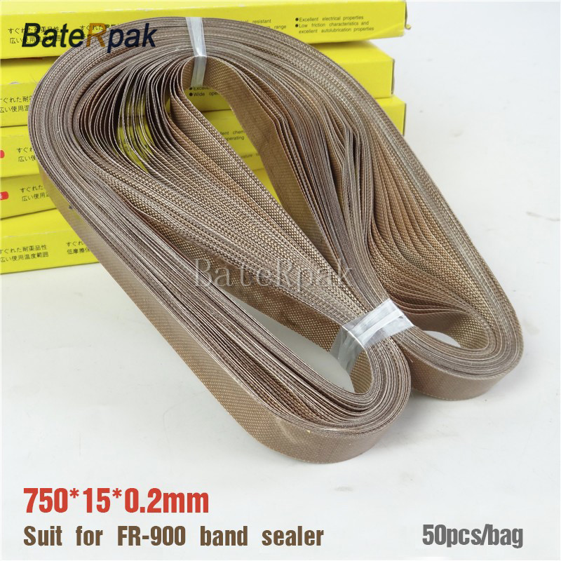 FR-900 Band sealer teflon belt,BateRpak size 750*15*0.2mm for Continuous Band Sealer,50pcs/bag,high temperature tape<br>