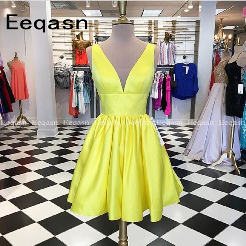 New Fashion 2019 Yellow Cocktail Dress A Line Sexy V Neck Satin Mini Party Special Occasion Elegant Dresses vestido coctel