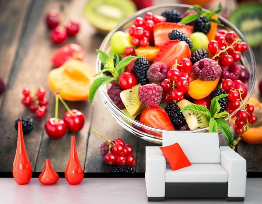 Berry Cherry Raspberry Fruit Food wallpapers,restaurant coffee shop dining room living room tv wall kitchen custom 3d murals<br>