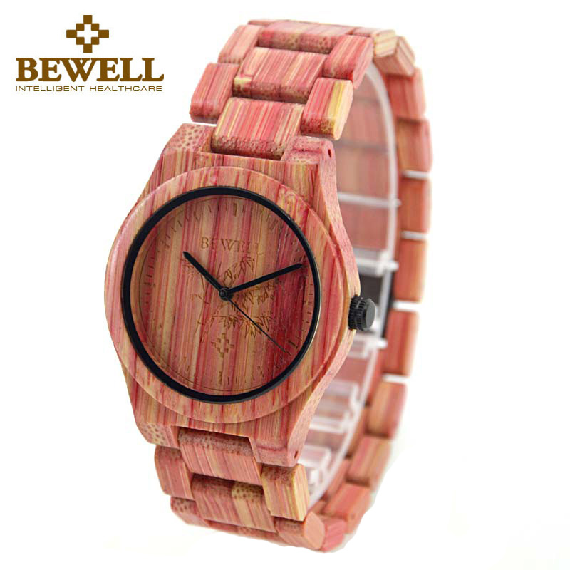 BEWELL W105DG Brand Designer Mens Bamboo Wood Watch Wooden Band Quartz Watches for Men Japan miyota 2035 Watch in Paper Box<br>
