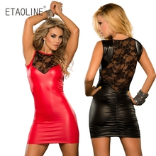 Buy Sexy Lace Faux Leather Erotic Pole Dance Party Dress Latex Bodycon Catsuit PVC Club Costumes Micro Mini Catsuit Fetish 2017 R03