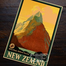Milford Sound, New Zealand NZ Visit Landscape Trip Travel Retro Vintage Poster Decorative DIY Wall Art Home Bar Posters Decor