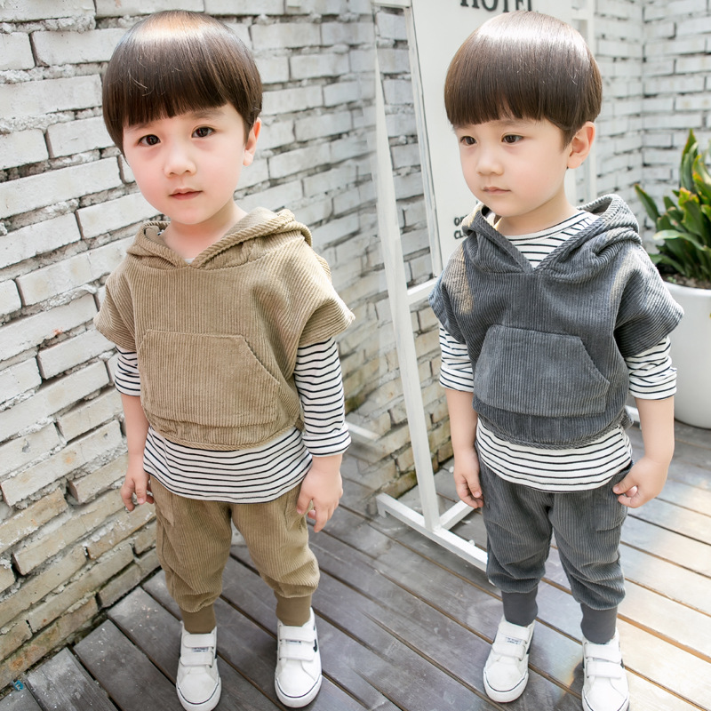 2017 New Europe&amp;America Autumn&amp;Spring Childrens clothing boy three-piece suit Long sleeves Hooded coat 1 2 3 4 5 6 7 Years old <br>