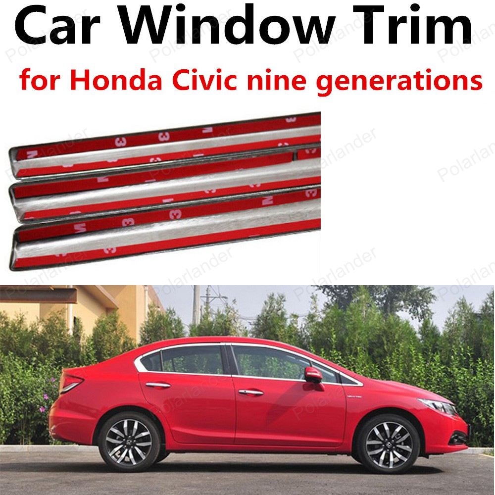 hot!! Car Window Trim Without Column Stainless Steel Decoration Strips For Honda Civic nine generations<br><br>Aliexpress