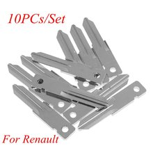 10PCS/Set Car VAC102 Uncut Key Blade For Renault Key Shell Blank Replacement Flip Folding Remote Key Blade Blank(China)