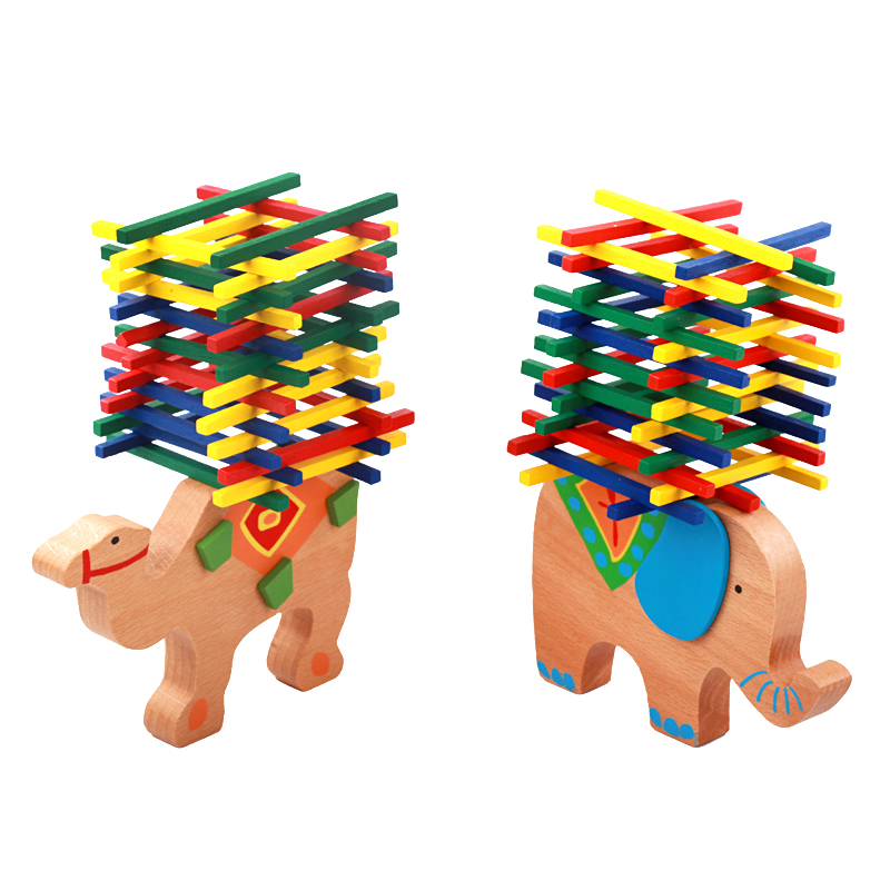 Baby Toys Educational Elephant Camel Balancing Blocks Wooden Toys Beech Wood Balance Game Montessori Blocks Gift For Child DIY(China)