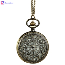 Vintage Bronze Tone Pocket Watches Hollow Out Dial Design Link Chain Pendant Women's Men's Pocket Watch Gift